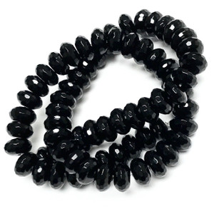 Black Onyx Faceted Rondell Beads-10mm