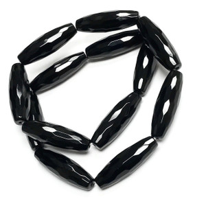 Black Onyx Faceted Rice Beads