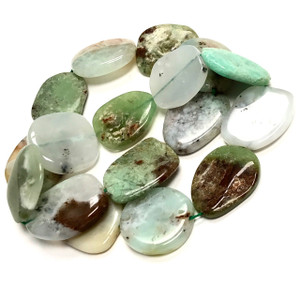 Chrysoprase Polished Free Form Flat Oval Beads