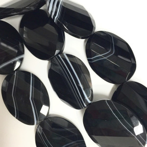 Black Line Agate Faceted and Twisted Oval Slabs - 5186
