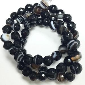 Black Line Agate Faceted Rounds - 11459