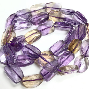 Ametrine Free Form Faceted Flat Beads