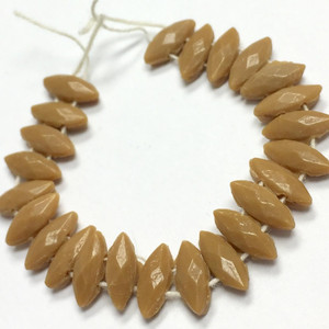 Antique Czech Nailhead Beads Tan Double Drilled Marquis - 8 X 3mm