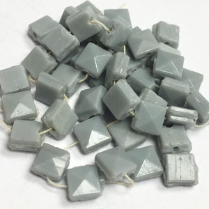 Antique Czech Square Gorgeous Gray Nailhead Beads - 4mm