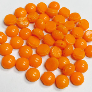 Antique Domed Bright Orange Czech Nailhead Beads - Rare