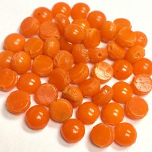 Antique Domed Slightly Transparent Orange Czech Nailhead Beads - Rare