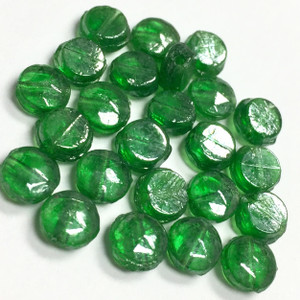 Antique Green Luster Faceted Rare Nailhead Beads