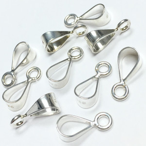 Sterling Silver Bail with Perpendicular Open Ring - Large -12mm