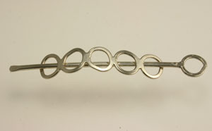 Vintage Silver Toned Freeform Circle Hair Clip-3 x 1/2""