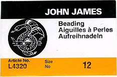 John James English Beading Needles - Size #12