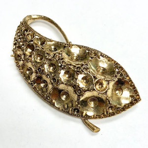 "Vintage Gold Tone Paisley Brooch Setting-3"" x1 3/4"""