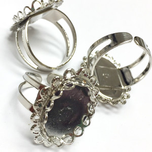 Vintage Silver Toned Adjustable Ring with Oval Filigree Setting