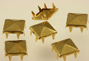 Vintage Square Prong Back Brass Brad Jewelry Stampings-13mm
