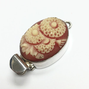 "Vintage Flower of the Month Sterling Silver Clasp - July - ""Zinnia"""