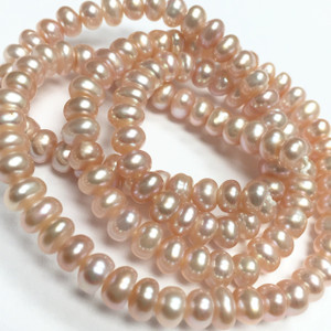 Naturally Pinky Peach Center Drilled Freshwater Pearls