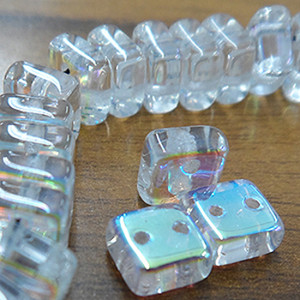 Chexx 2 Holed Glass Beads - 6mm Crystal AB
