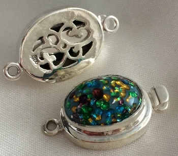 Vintage Sterling West German Turquoise Confetti Clasp