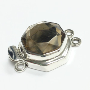 Vintage Sterling Silver West German Faceted Lt. Topaz Smoked Clasp
