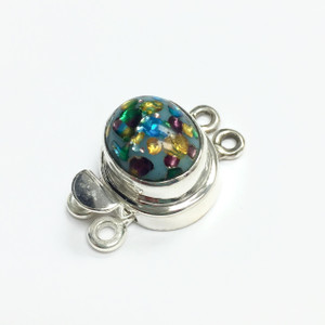 Vintage Sterling Silver West German Turquoise Confetti dbl Clasp