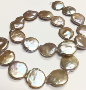 Big Peach Coin Pearl Beads 16.5-16mm