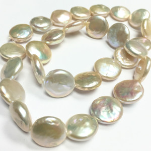 Peach Coin Pearl Beads 13-14mm