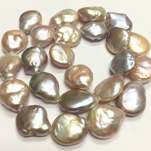 Peachy Baroque Coin Pearls 14-15mm