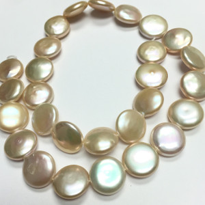 Peachy Perfection Coin Pearl Beads 14-14.5mm