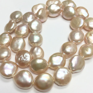 Peachy Pink Coin Pearl Beads 11-12 mm