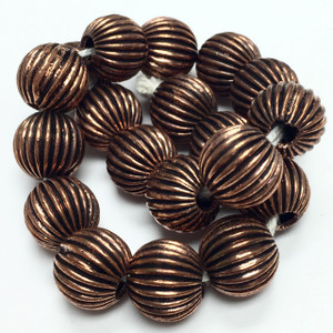 Antiqued Corrugated Copper Bead-11mm