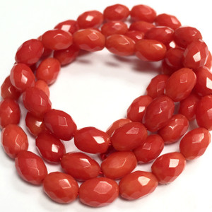 Faceted Coral Rice Beads