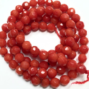 Faceted Tiny Coral Rounds 4mm