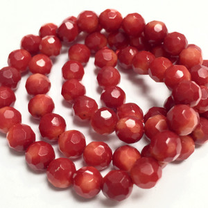 Red Faceted 6mm Round Coral Beads