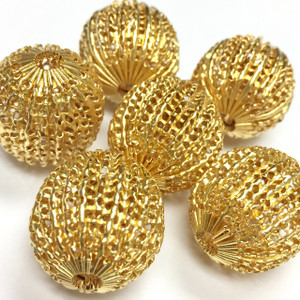 Vintage Gold Plated Corrugated Screen Beads-18mm - VB