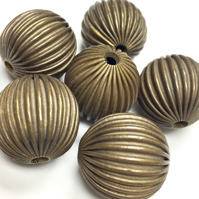 Vintage Raw Brass Corrugated Rounds