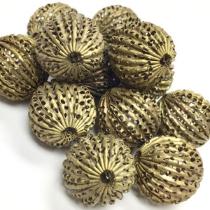 Vintage Raw Brass Corrugated Screen Beads (16mm round)