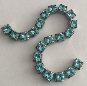Swarovski Crystal Gunmetal CATCH-FREE Cup Chain - Light Turquoise- 24pp