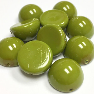 Glass Dome Bead  Fiesta Pea Green - 12 x 7mm