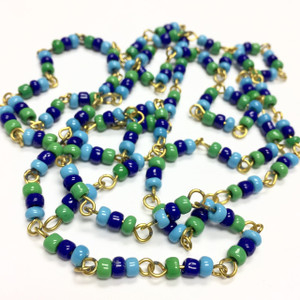 Vintage Tri Color Blue & Green Seed Bead Chain
