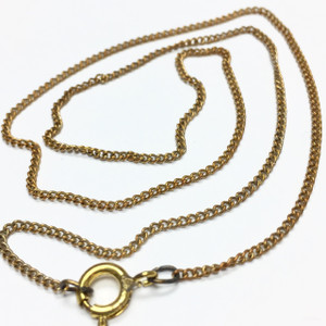 Vintage Very Fine Brass Curb Chain with Spring Ring