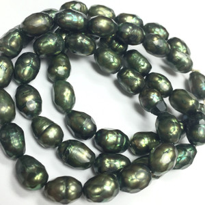 Faceted Freshwater Green Rice Pearl Beads