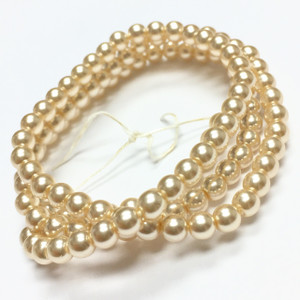 Vintage Cool Cream Glass Faux Pearls 4mm