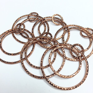 Antiqued Copper Hoop Rings Dangle Sets for Earrings