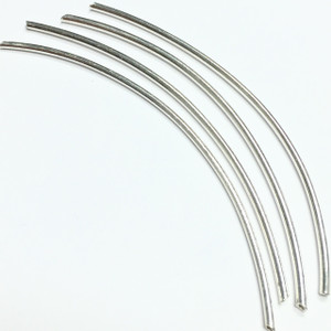 Silver Plated Curved Tube Beads-84 x 1.5mm