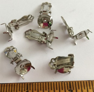 Vintage Rhodium Plated Clip On Earrings with Tab Base