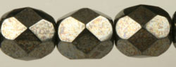 Fire Polished Glass Beads 6mm - Gunmetal