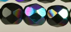Fire Polished Glass Beads 6mm - Jet Iris