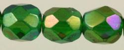 Fire Polished Glass Beads 6mm - Light Emerald Iris