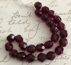 Vintage Top Quality Rich Garnet Red Firepolish Beads 6mm