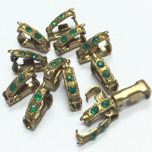 Vintage Fold Over Clasps with Green Crystals