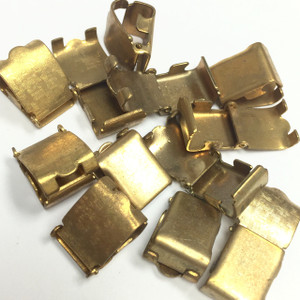 Vintage Large Textured Brass Fold Over Clasps